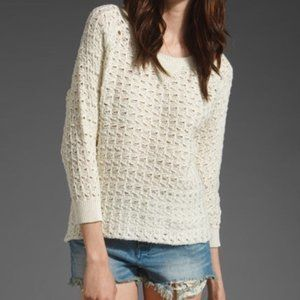 """Joie """"Crawford"""" cotton weave sweater in Chalk"""